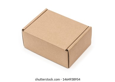 Closed craft cartoon box isolated on white background. Isometric view.