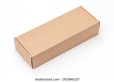 Closed craft cartoon box isolated on white background.