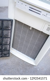Closed up dirty high performance HEPA filter of air purifier.