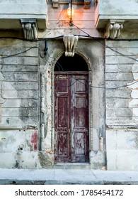 Closed door of a building, Malecon, Havana, Cuba