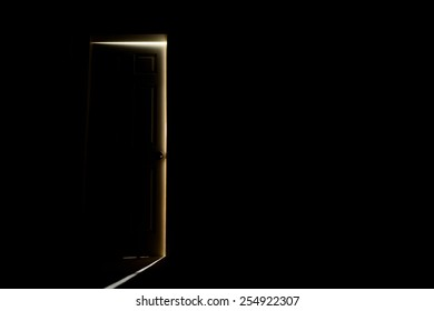 Closed door with light fall of.
