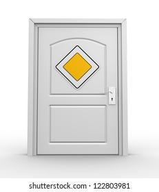 A closed door and a priority road sign. 3d render