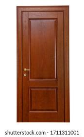 Closed door. Wooden door isolated on white background.