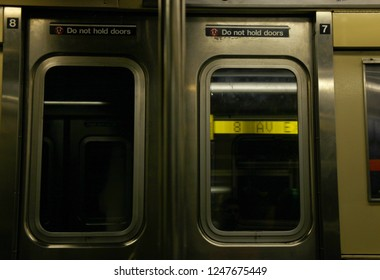 Closed doors of a New York Subway train at 8th Ave