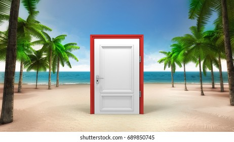 closed doorway on the sandy tropical beach, vacation at sea 3D background illustration