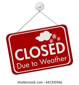 Closed due to weather sign, A red sign with text Closed due to weather isolated over white 3D Illustration