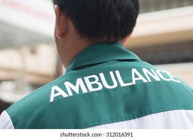 Closed up : Emergency medical technician uniform backside show ambulance wording
