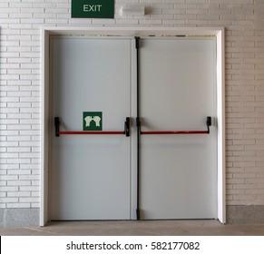 Closed emergency white door, for quick evacuation