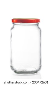 closed empty glass jar isolated on white background