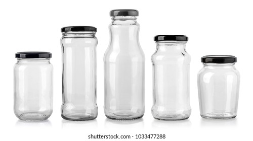 Closed empty glass jar with metal lid isolated on white background