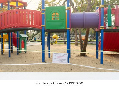 closed and empty playgrounds in Lumpini public park, Bankok Thailand because of coronavirus, covid 19, crisis 2020