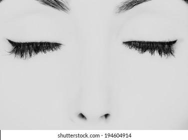 closed eyes with long eyelashes