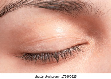 Closed female eye lashes closeup
