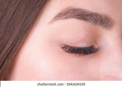 Closed female eye with long eyelashes and beautiful eyebrow, close up. Cosmetology clinic, eyelid lifting, blepharoplasty, plastic surgery concept