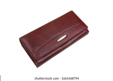 closed female wallet on a white background