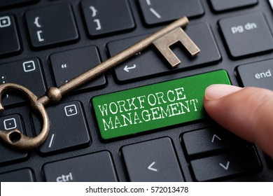 Closed up finger on keyboard with word WORKFORCE MANAGEMENT