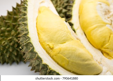 Closed up of fresh sweet raw king of fruits on white background, durian for tropical fruit concept.