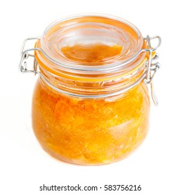 Closed glass jar with apple jam, isolate on white background