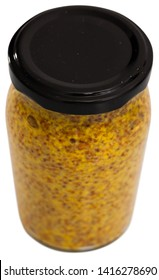 Closed glass jar of wholegrain mustard. Isolated over white background