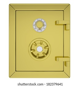 Closed gold safe. Isolated render on a white background