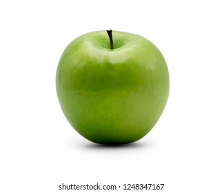 closed up granny smith apple isolated on white background