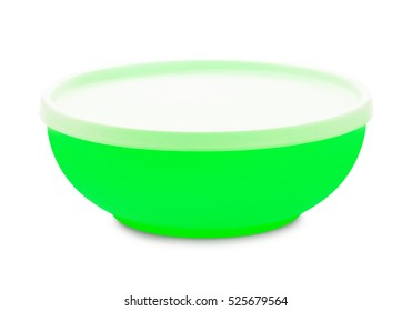 Closed green plastic bowl isolated on white background
