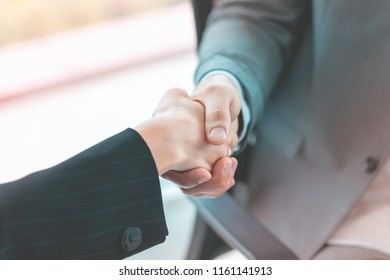 Closed up hand shaking in business meeting deal