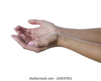 Closed up hands of a begging woman