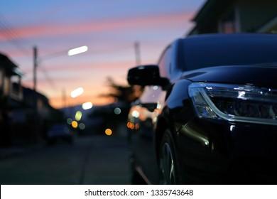 closed headlight vehicle car in the night street urban road