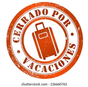 closed for holidays grunge stamp, in spanish language