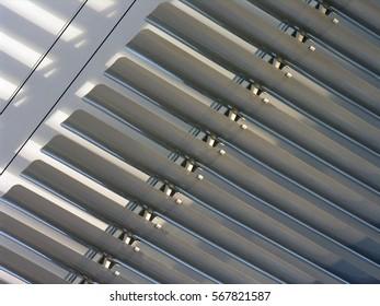 closed horizontal blinds near the wall
