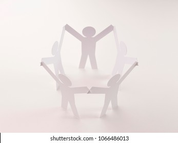 closed joining of five  paper figure in hand up posture on bright white background. in concept of business, cooperation and teamwork