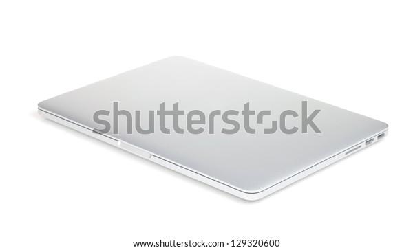 Closed laptop. Isolated on white background