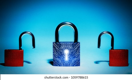 Closed lock is in the center. Two hacked lock are on each side.  Concept of network security, virus protection, data protection.