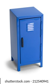 Closed Metal Blue Locker Isolated on White Background.