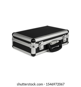 Closed Metal Briefcase Isolated on White Background (with clipping path)