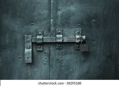 closed metal door with lock