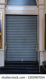 Closed Metal Roll Up Door Safety Entrance