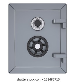 Closed metal safe. Isolated render on a white background