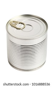 Closed metal tincan isolated on white background.