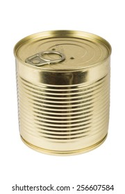 Closed metallic tin isolated on white background