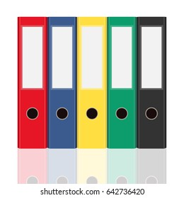 Closed office binders set isolated on white background. Side view illustration