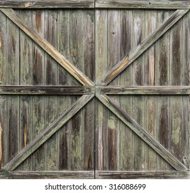 Closed Old Aged Wooden Window Shutters