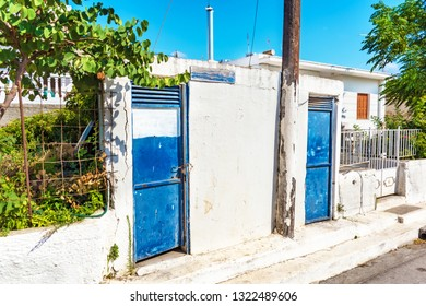 Closed old street toilets in Greek village on Island of Rhodes (Rhodes, Greece)