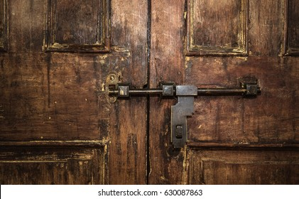Closed Old vintage wood Door with door lock