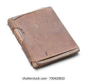 Closed Old Worn Out Book Isolated on a White Background.