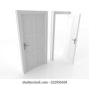 Closed and Open Doors Isolated