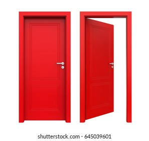 Single Red Door Closed Door Frame Stock Illustration 32768506