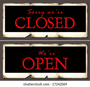 Closed and open sign