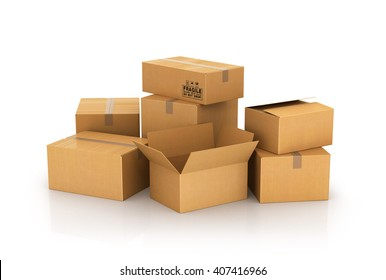 closed and opened cardboard boxes isolated on white background. 3d illustration